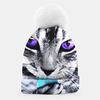 Purple eyes cat Beanie obraz miniatury