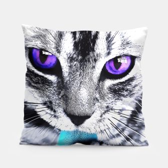 Purple eyes cat Pillow thumbnail image