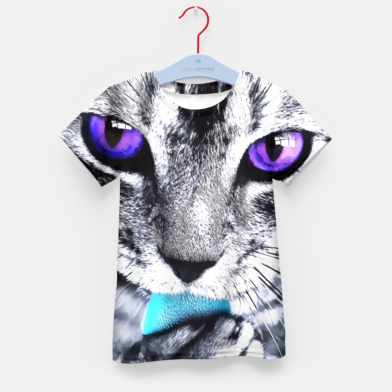 Image of Purple eyes cat Kid's T-shirt - Live Heroes