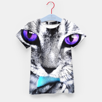 Purple eyes cat Kid's T-shirt obraz miniatury