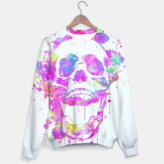 Miniaturka  Cool & Trendy Pink Watercolor Skull Sweater, Live Heroes