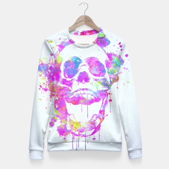Miniature de image de  Cool & Trendy Pink Watercolor Skull Fitted Waist Sweater, Live Heroes