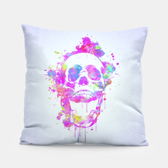 Miniaturka  Cool & Trendy Pink Watercolor Skull Pillow, Live Heroes
