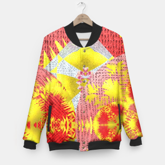 Thumbnail image of Red Gold Oriental Print Baseball Jacket, Live Heroes