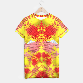 Thumbnail image of Red Gold Oriental Print T-shirt, Live Heroes