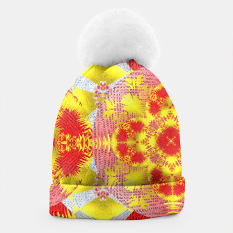 Thumbnail image of Red Gold Oriental Print Beanie, Live Heroes