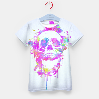 Miniature de image de  Cool & Trendy Pink Watercolor Skull Kid's T-shirt, Live Heroes