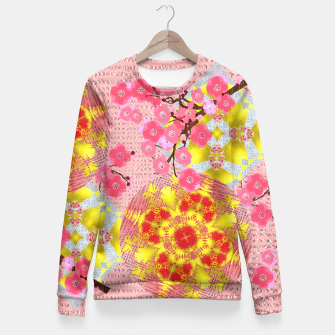 Thumbnail image of Oriental Delight Pink Cherry Blossom Print Fitted Waist Sweater, Live Heroes