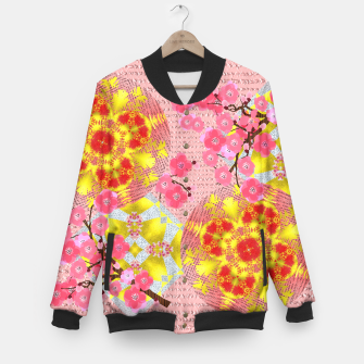 Thumbnail image of Oriental Delight Pink Cherry Blossom Print Baseball Jacket, Live Heroes