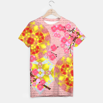 Thumbnail image of Oriental Delight Pink Cherry Blossom Print T-shirt, Live Heroes