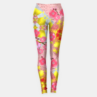 Thumbnail image of Oriental Delight Pink Cherry Blossom Print Leggings, Live Heroes