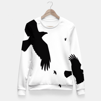 Miniatur       A Murder of Crows In Flight Silhouette Fitted Waist Sweater, Live Heroes