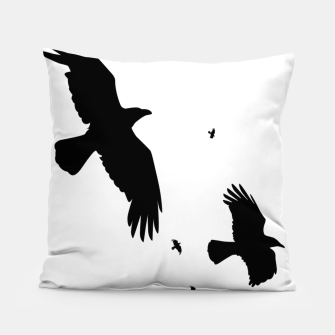 Thumbnail image of       A Murder of Crows In Flight Silhouette Pillow, Live Heroes