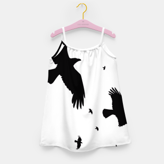 Thumbnail image of       A Murder of Crows In Flight Silhouette Girl's Dress, Live Heroes