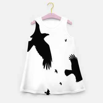 Thumbnail image of       A Murder of Crows In Flight Silhouette Girl's Summer Dress, Live Heroes
