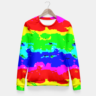 Miniaturka Colorful Digital Abstract Collage Print Fitted Waist Sweater, Live Heroes