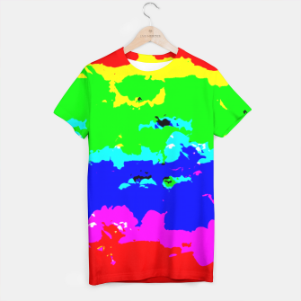 Miniaturka Colorful Digital Abstract Collage Print T-shirt, Live Heroes