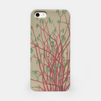 """Thumbnail image of """"Red twigs"""", pastel drawing, nature art, green, red, tree branches, Live Heroes"""