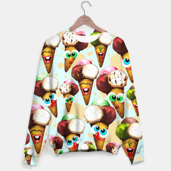 Thumbnail image of Ice Cream Cones Cartoon Summer Pattern  Sweater, Live Heroes