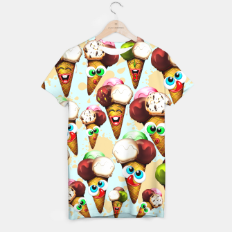 Thumbnail image of Ice Cream Cones Cartoon Summer Pattern  T-shirt, Live Heroes