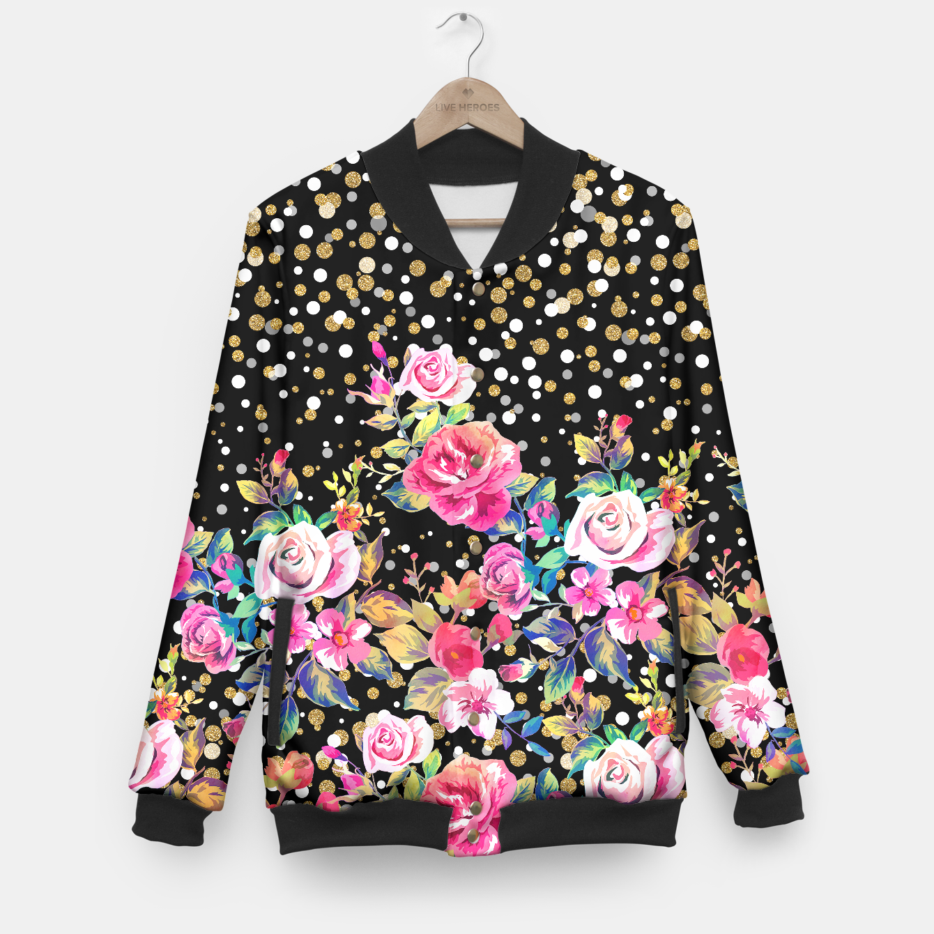 Image of Modern watercolor spring floral and gold dots pattern - Live Heroes