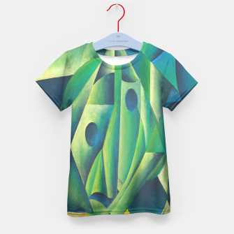 Thumbnail image of Cubist Abstract Of Village Woman Wearing A Headscarf Kid's T-shirt, Live Heroes