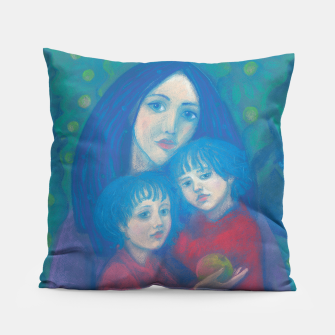 "Thumbnail image of ""Bedtime fairytale"", pastel painting, mother and children, fine art, fantasy, blue, green, pink colors, Live Heroes"