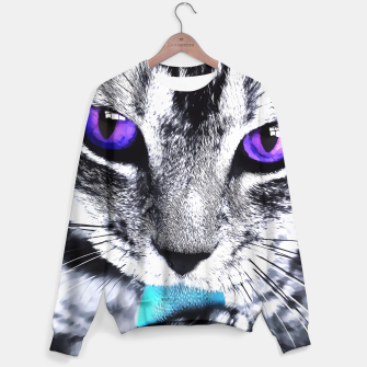 Purple eyes cat Sweater obraz miniatury