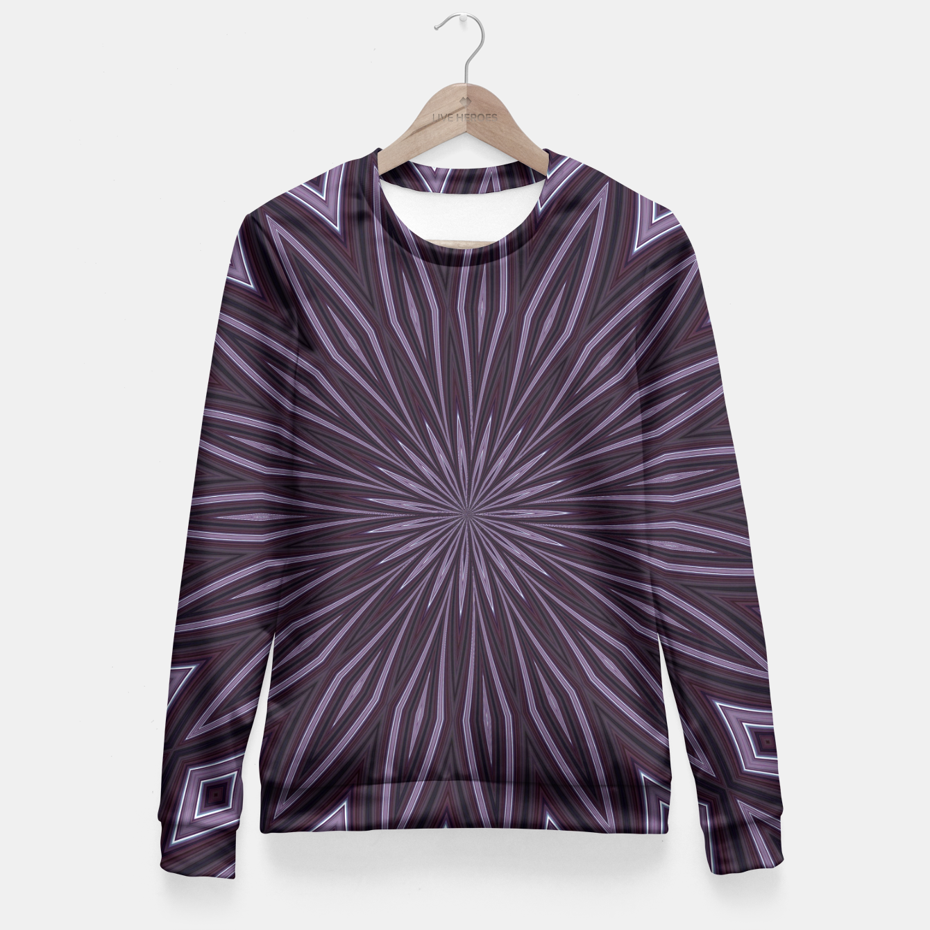 Imagen de Eggplant and Aubergine Floral Design Fitted Waist Sweater - Live Heroes