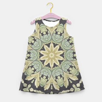 Thumbnail image of Mandala Leaves In Pale Blue, Green and Ochra Girl's Summer Dress, Live Heroes