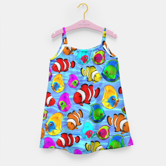 Thumbnail image of Tropical Fishes Cartoon Pattern Girl's Dress, Live Heroes