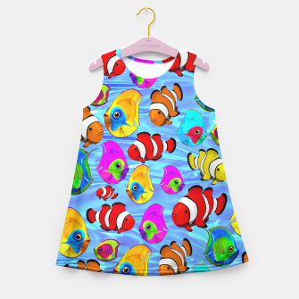 Thumbnail image of Tropical Fishes Cartoon Pattern Girl's Summer Dress, Live Heroes
