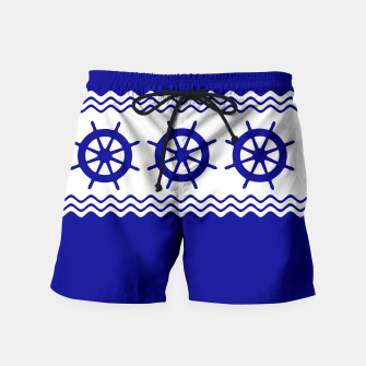 Thumbnail image of Coastal Sailing Ship Helm Swim Shorts, Live Heroes