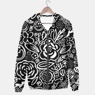 Thumbnail image of Black & White Floral Profusion Hoodie, Live Heroes