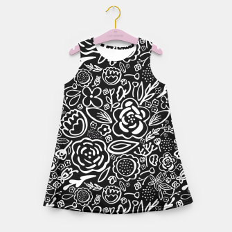 Miniatur Black & White Floral Profusion Girl's Summer Dress, Live Heroes