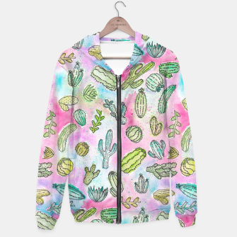 Thumbnail image of Cute Hand Painted Watercolor Green Succulent Cactus Plants Pattern Hoodie, Live Heroes