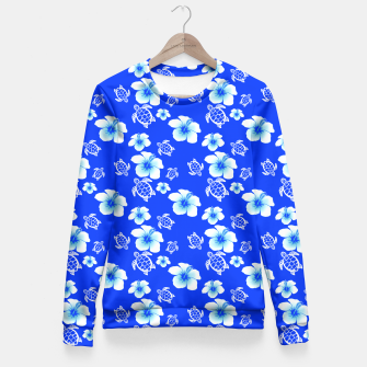 Miniatur Blue Hawaiian Floral And Turtles Print Fitted Waist Sweater, Live Heroes