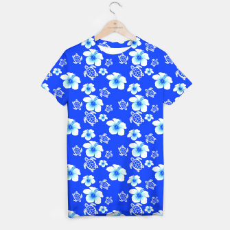 Miniatur Blue Hawaiian Floral And Turtles Print T-shirt, Live Heroes