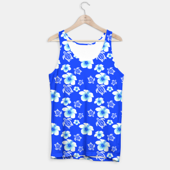 Miniatur Blue Hawaiian Floral And Turtles Print Tank Top, Live Heroes