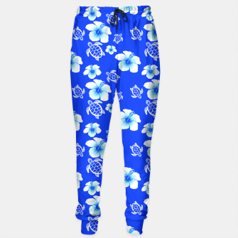 Miniatur Blue Hawaiian Floral And Turtles Print Sweatpants, Live Heroes