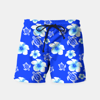 Miniatur Blue Hawaiian Floral And Turtles Print Swim Shorts, Live Heroes