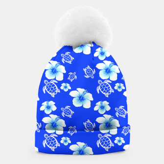 Miniatur Blue Hawaiian Floral And Turtles Print Beanie, Live Heroes