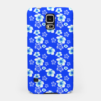 Miniatur Blue Hawaiian Floral And Turtles Print Samsung Case, Live Heroes