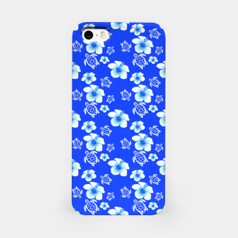 Miniatur Blue Hawaiian Floral And Turtles Print iPhone Case, Live Heroes