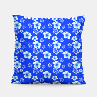 Miniatur Blue Hawaiian Floral And Turtles Print Pillow, Live Heroes