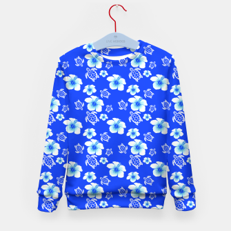 Miniatur Blue Hawaiian Floral And Turtles Print Kid's Sweater, Live Heroes