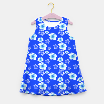Miniatur Blue Hawaiian Floral And Turtles Print Girl's Summer Dress, Live Heroes