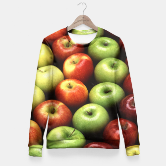 Imagen en miniatura de Red and Green Apples Displayed In A Pattern Fitted Waist Sweater, Live Heroes