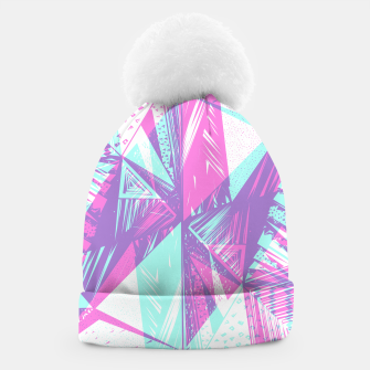 Miniaturka Abstract pink teal geometrical triangle patterns Beanie, Live Heroes