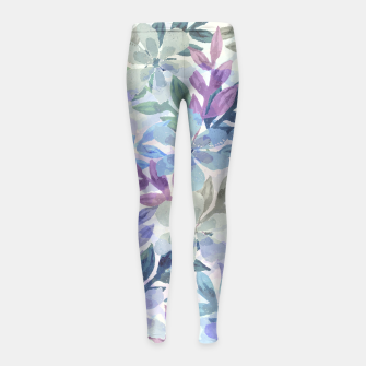 watercolor Botanical garden Girl's leggings imagen en miniatura
